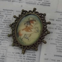 Pony Antics, vintage style bronze brooch with resin covered image of pony