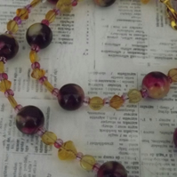 Autumn Floral, painted and glass beads necklace and earring set
