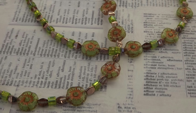 Green Buttercup, glass bead necklace and earring set