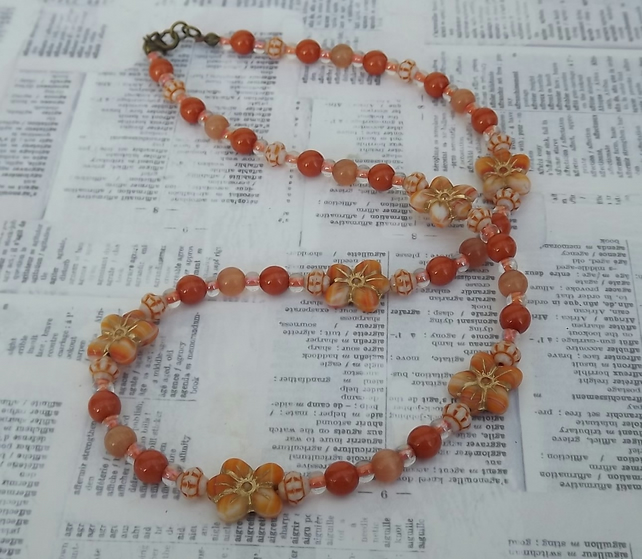 Orange Blossom, glass beads and flowers necklace and earring set