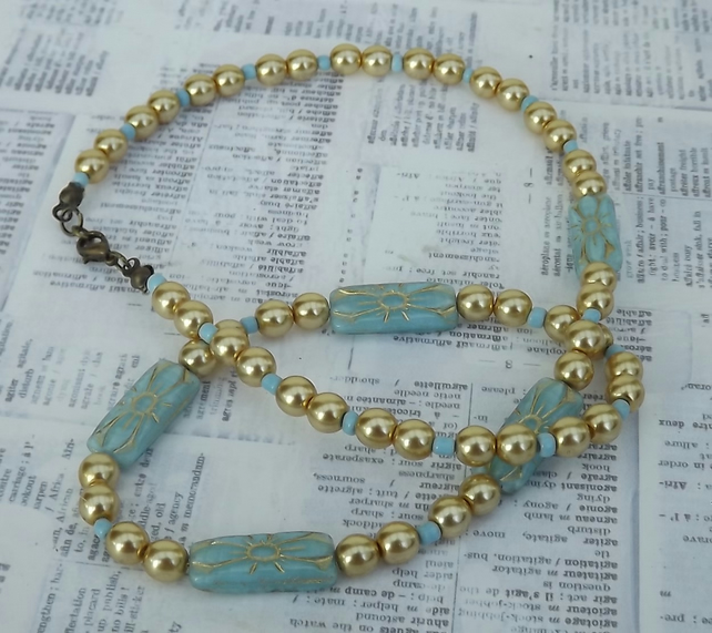 Elsa, gold pearl and blue Art Deco style glass beads, necklace and earring set