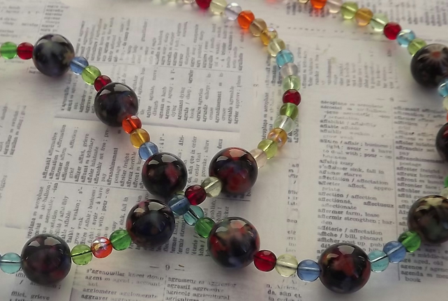 Summer, painted ceramic and glass bead necklace