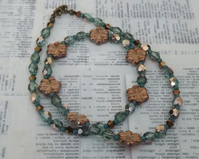 Copper Posey, copper and teal glass beaded necklace and earring set