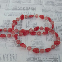 Rosie, glass hearts, with rose agate, beaded necklace and earring set