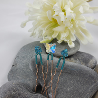 Swarovski Crystal Butterfly and Bicone Hair Pins (Set of 3)