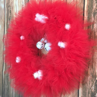 Poinsettia Red and White Jingle Bell Tulle Wreath