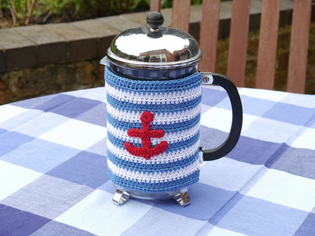 Nautical Anchor Cafetiere Cosy