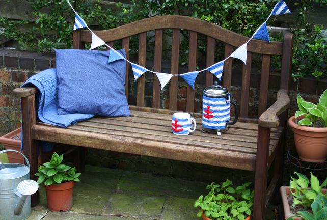 Nautical Bunting, Blue and White Triangle Garland