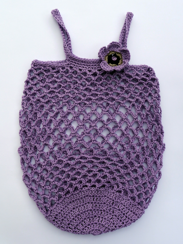 Ethical Crochet Shopping Bag, Mauve Reusable Market Bag