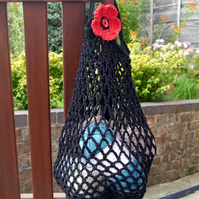 Ethical Cotton Market Bag, Reusable Bag, Crochet Black Bag with Red Poppy