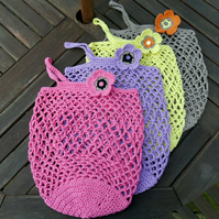 Pink Ethical Crochet Shopping Bag, Reusable Market Bag