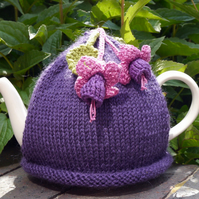 Purple Teapot Cosy with Fuchsia Flowers, Teacosy, Tea Cozy