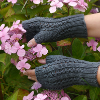Fingerless Gloves, Blue Mittens