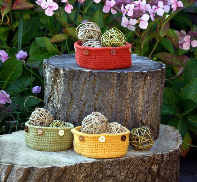 SALE - Autumn Crochet Bowls Nest of Three