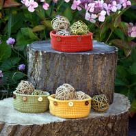 Autumn Crochet Bowls Nest of Three