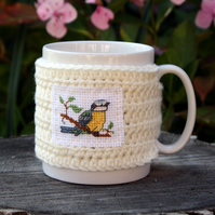 Blue Tit Mug Cosy, Cross stitch and Crochet Mug Hug
