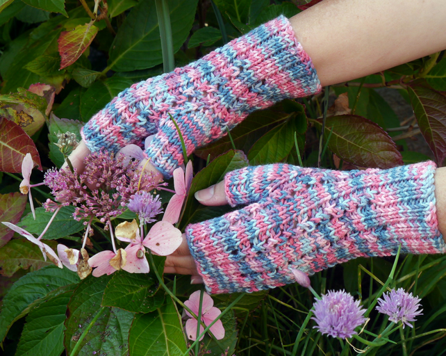 Fingerless Gloves Pink and Blue, Wrist Warmers, Mittens