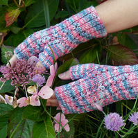 SALE - Fingerless Gloves Pink and Blue, Wrist Warmers, Mittens