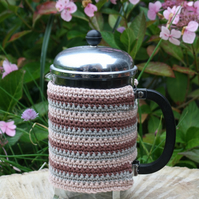 Cafetiere Cosy Crocheted Stripes, Coffee Pot Cozy