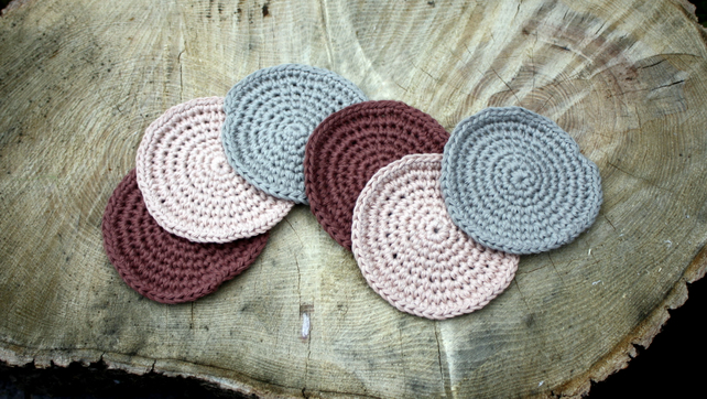 Crochet Coasters Set of Six in Earthy Tones