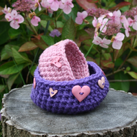 Crochet Bowls Set of Two, Purple and Pink Decorative Baskets