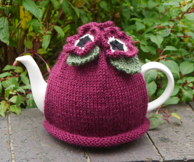 Tea Cosy Dark Pink Flowers