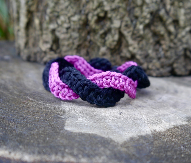 Bracelet Crochet, Pink and Black