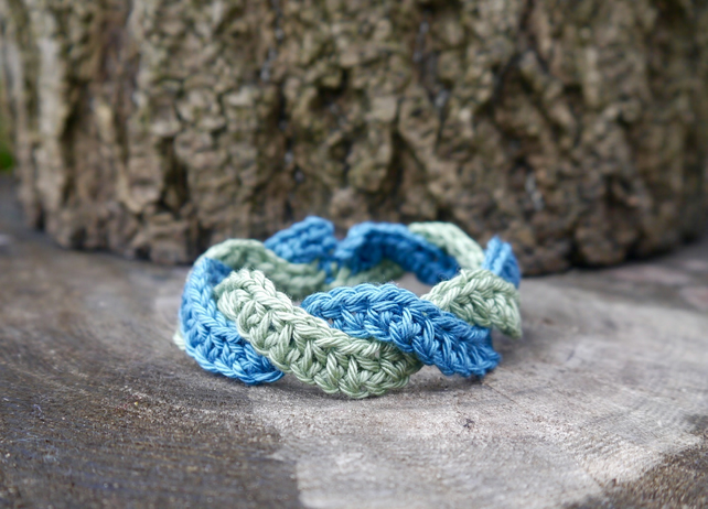 Crochet Bracelet Green and Blue