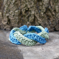 SALE - Crochet Bracelet Green and Blue