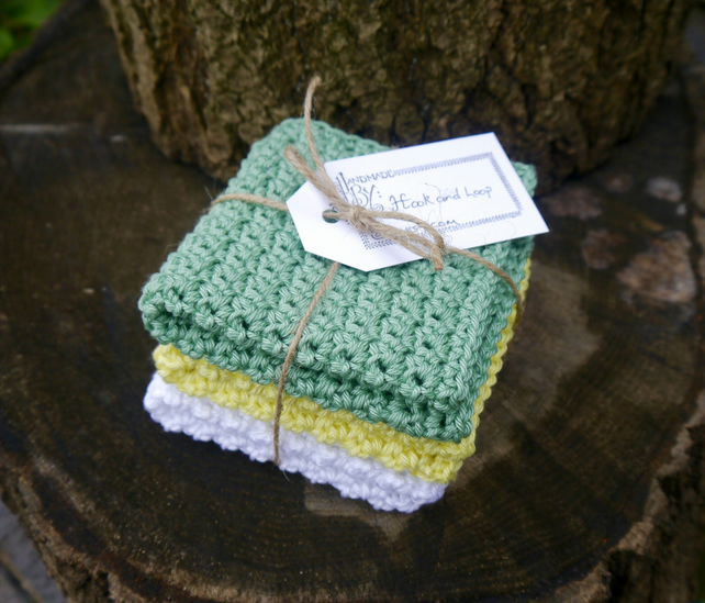 Crochet Facecloth Set of Three