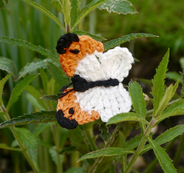 Orange Butterfly Brooch, Crochet Jewellery