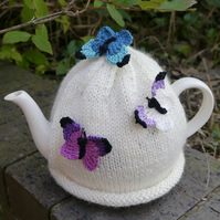 Cream Butterfly Tea Cosy