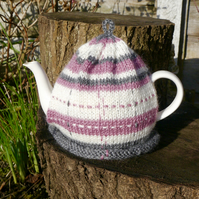 Hand Knitted Tea Cosy, Pink Tartan