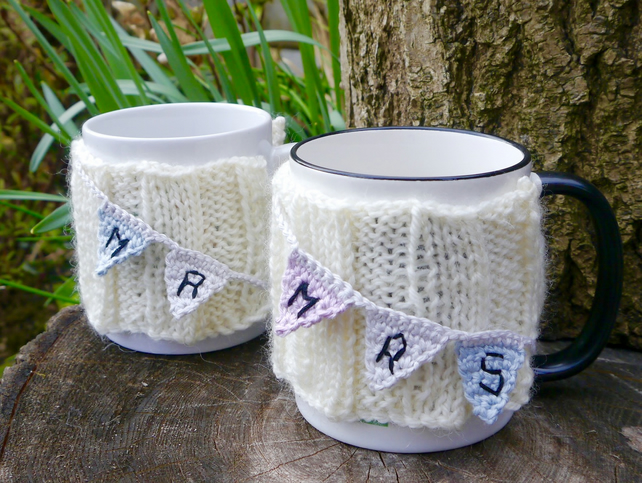 Wedding Gift Mug Cosies Mr and Mrs Bunting Set of Two
