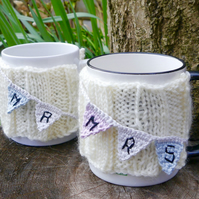 Wedding Mug Cosies Mr and Mrs Bunting Set of Two