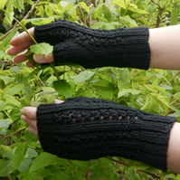 SALE - Black Fingerless Mittens, FREE UK SHIPPING