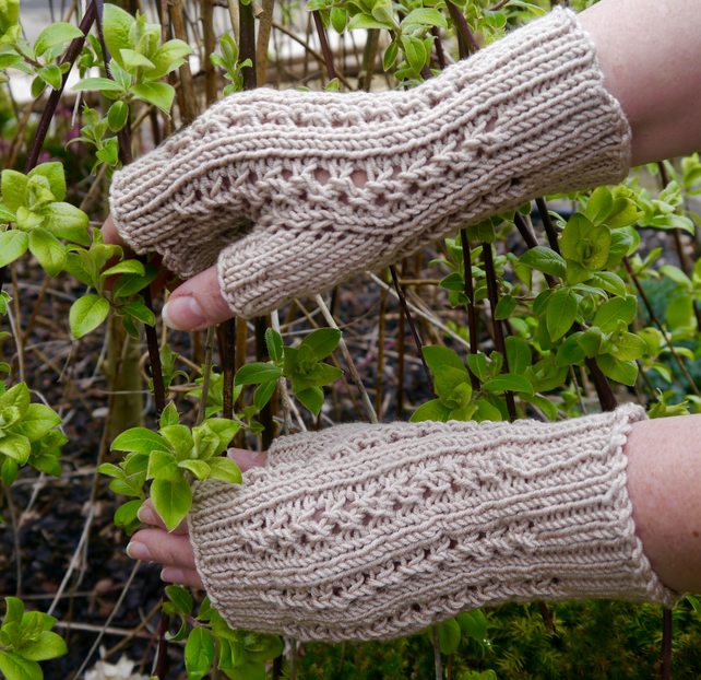 Fingerless Gloves Beige