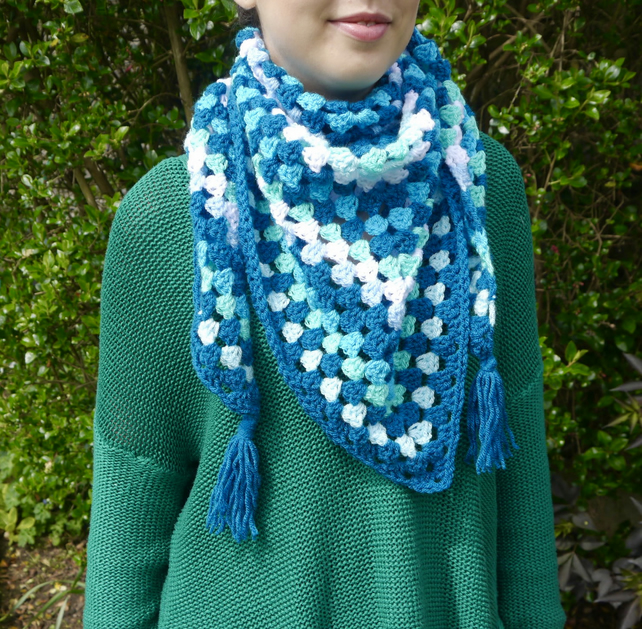 Turquoise Crochet Triangle Scarf, Shawl