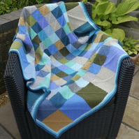 Modern Hand Knit Blanket, Coastal Throw, Blues and Greens