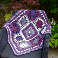 Crochet Lap Blanket, Merino Wool and Acrylic Yarn