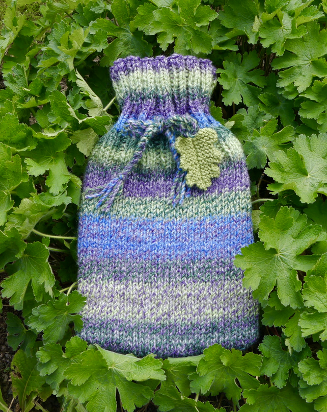 Hot Water Bottle Cosy With Oak Leaf Blue