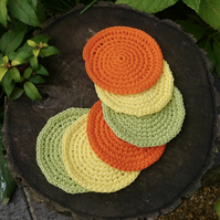 Crochet Coasters Set of Six, Citrus Colours