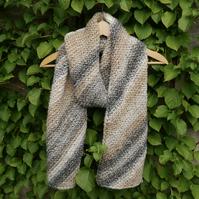 SALE - Chunky Scarf, Knitted Diagonal Stripe Scarf