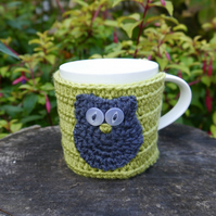 Owl Mug Cosy, Green and Blue