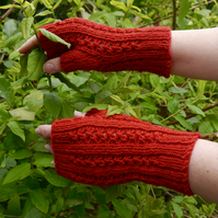 Hand Knitted Bright Red Fingerless Gloves, Arm Warmers
