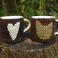 Rustic Mug Cosies, Folk Art Chicken and Heart, Set of Two