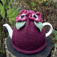 Hand Knitted Tea Cosy with Dark Pink Flowers