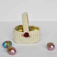 Easter Egg Basket, Cream Mini Fillable Gift Basket