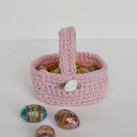 Mini Pink Crochet Gift Basket