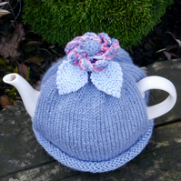 Blue Flower Hand Knitted Teacosy with Leaves